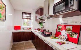红色混搭风格厨房装修效果图