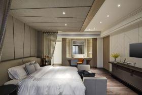 米色简约风格卧室吊顶效果图设计