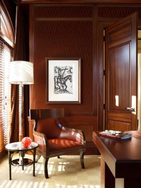 红色中式风格书房装修设计赏析