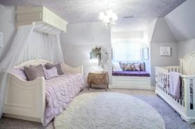 紫色简欧风格浪漫温馨儿童房效果图设计