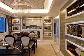 精致典雅新古典风格米色餐厅装修效果图
