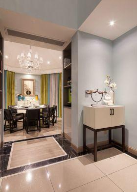 蓝色简欧风格餐厅隔断设计装潢