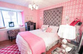 粉色混搭风格卧室飘窗装饰图