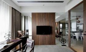 沉稳大气现代风格原木背景墙装修图