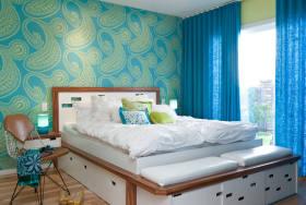 蓝色地中海风格卧室壁纸装潢设计