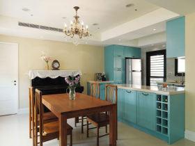 复古雅致时尚简欧风格蓝色餐厅设计图片