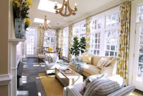 美式黄色清新客厅窗帘设计图片
