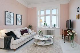 粉色混搭背景墙设计