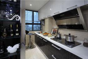 简约风格黑色厨房橱柜装修效果图