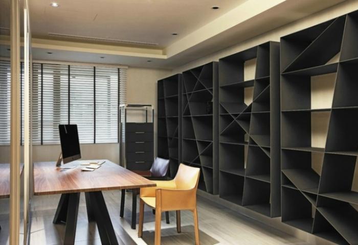 现代风格书柜-黑色书房图片图片