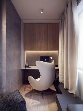 简约风格灰色书房装饰设计图片