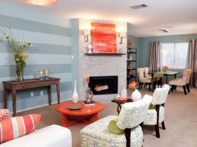 浪漫时尚橙色混搭风格客厅装饰图