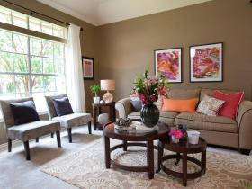 褐色东南亚风格客厅背景墙装修效果图片