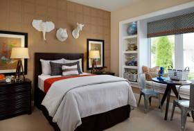 橙色东南亚风格卧室效果图