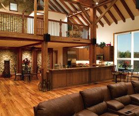 大气奢华原木美式风格别墅厨房装潢图片