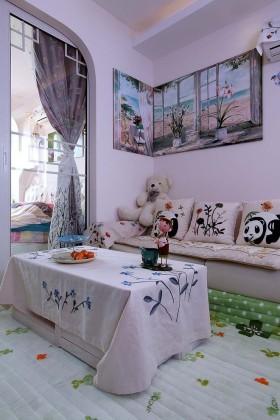 白色清新田园风格客厅装潢案例
