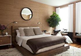 现代风格原木色卧室装修案例
