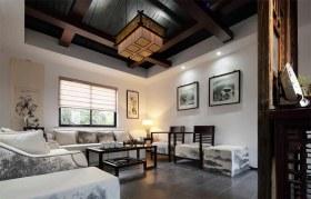 褐色中式风格客厅吊顶装修设计赏析