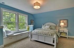 蓝色混搭风格卧室飘窗图片赏析