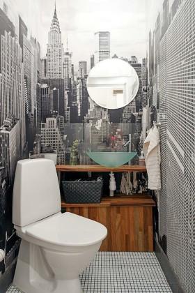灰色摩登创意时尚混搭卫生间赏析