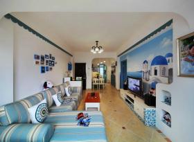 梦幻地中海蓝色客厅装修案例