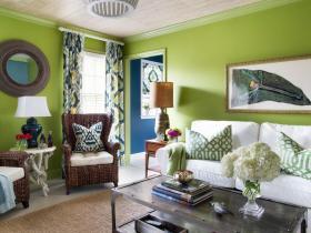 混搭风格绿色客厅设计案例
