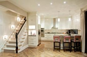 米色混搭风格厨房吧台装潢案例