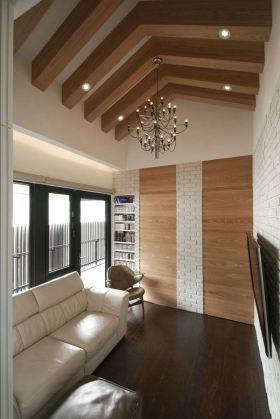原木色美式乡村风格阳台吊顶装饰案例