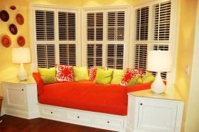 橙色个性温暖混搭风格飘窗效果图
