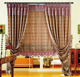 紫色东南亚风格窗帘设计欣赏