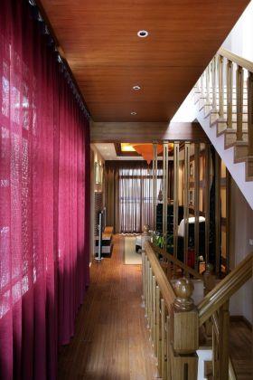 红色雅致东南亚风格楼梯过道设计赏析