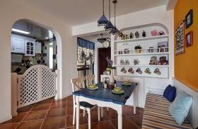 浪漫白色地中海餐厅隔断装饰设计图片