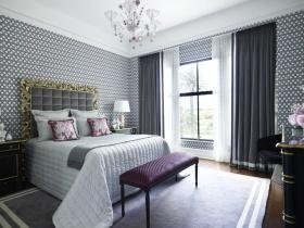 简欧风格浪漫白色卧室窗帘设计图