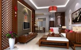 中式褐色客厅背景墙装修图片