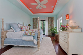 清新蓝色美式风格卧室装修图