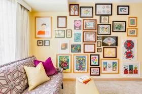 多彩混搭风格客厅照片墙设计装潢图