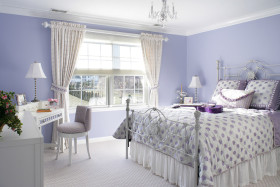浪漫紫色欧式风格卧室美图欣赏