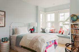 简欧风格白色卧室飘窗效果图设计