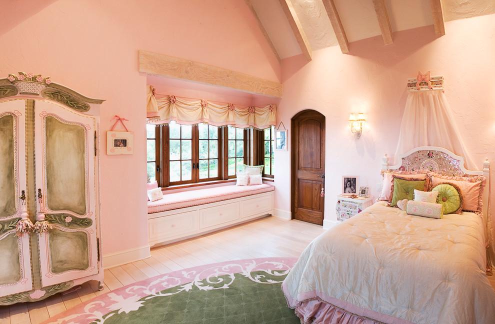 梦幻粉色欧式风格卧室飘窗装修效果图
