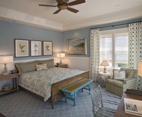田园清新蓝色卧室装潢设计