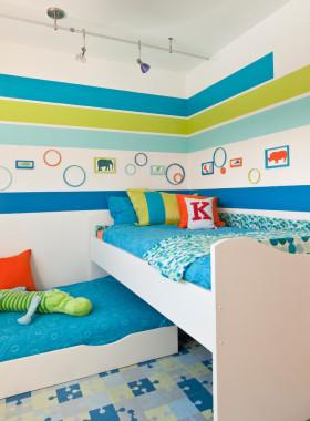 创意混搭蓝色儿童房欣赏