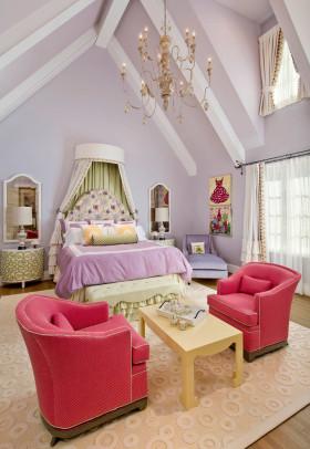 欧式风格梦幻紫色儿童房效果图设计
