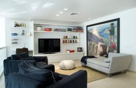 时尚白色混搭风格客厅背景墙设计图