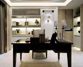 米色时尚现代风格书房设计装潢