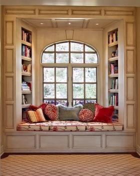 美式浪漫米色飘窗装修图