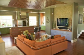 现代风格橙色客厅装饰设计图片