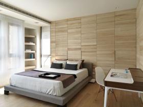简约风格原木色卧室装修图
