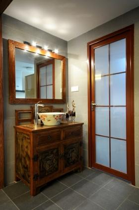 中式风格黄色复古浴室柜设计图