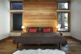 现代风格橙色卧室背景墙装修布置