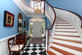 蓝色美式风格创意楼梯设计图